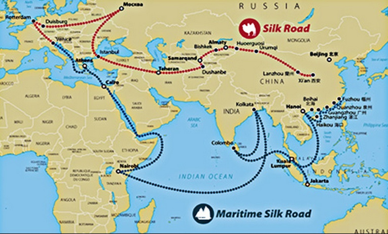compare contrast silk road indian ocean maritime
